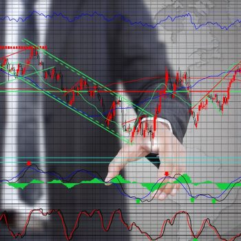 Businessman pushing finance graph for trade stock market