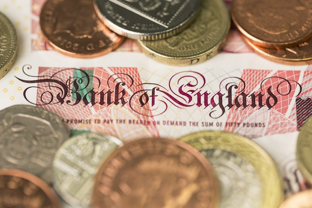Bank of England text on a UK Fifty pounds note