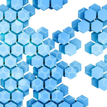 Distributed ledger technology , Blue Hexagon six-sided polygon symbol on white background , cryptocurrencies or bitcoin concept