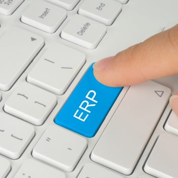 Hand pushing blue ERP  button on white keyboard background