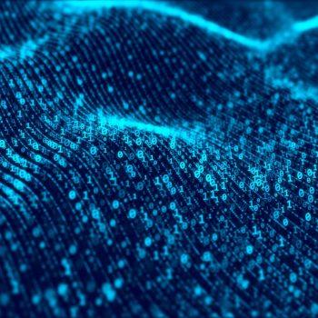 Waves of digital information concept – binare code background