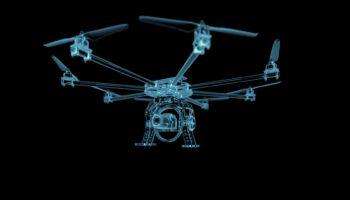 Drone plane uav x-ray blue transparent isolated on black