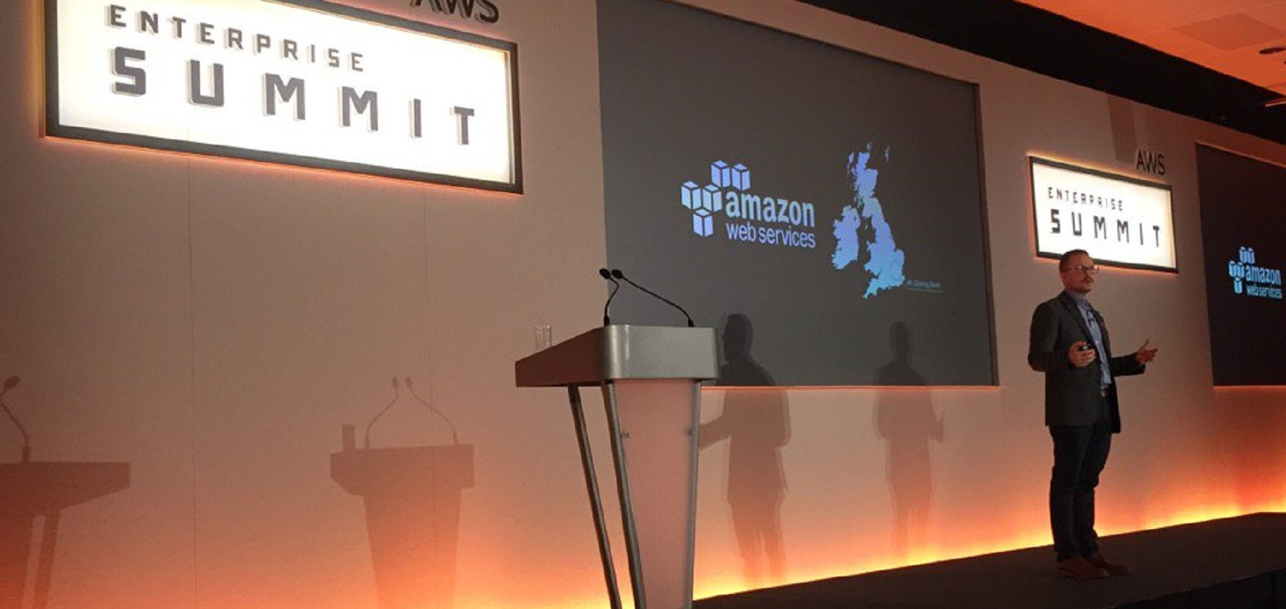 AWS's UK/EU Managing Director giving a keynote at the AWS Enterprise Summit in London