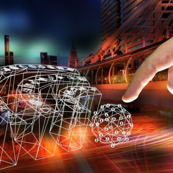 Internet of things (IOT) and fintech concept . Wifi icon , Finger touch icon with city night time abstract background.