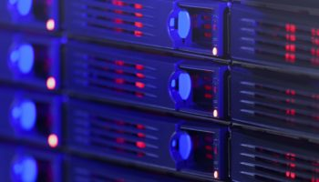 Server rack toned in blue color