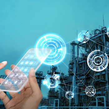 futuristic smart phone and wireless communication network, smart factory, industry4.0, Internet of Things, abstract image visual
