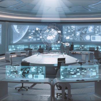 3D rendered modern, futuristic command center interior with people silhouettes