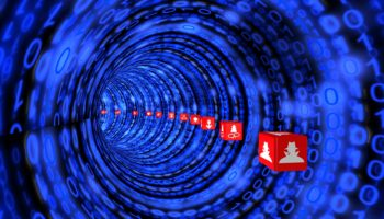 Cybersecurity tunnel in blue