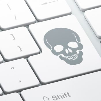 Medicine concept: Scull on computer keyboard background