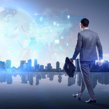 Businessman walking in cloud computing concept