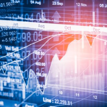 Stock market indicator and financial data view from LED. Double