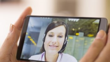 Video conference on smartphone, Skype