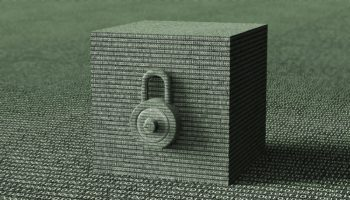 digital safety concept padlock in electronic environment