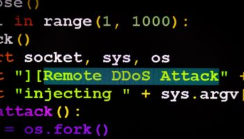 Graphic user interface with DDoS message, concept of internet attack