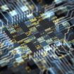 Abstract technology background. Close-up of circuit board with futuristic CPU