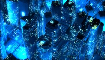 Blue neon city skyscrapers modern technology concept