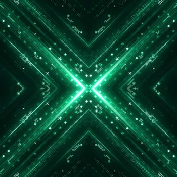 Green hi-tech user interface. Digital global speed technology concept, abstract background. 3d rendering
