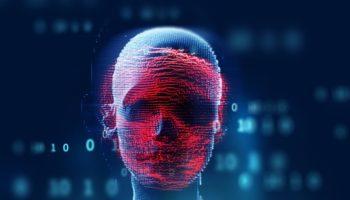 blue digital cyber skull  3d illustration