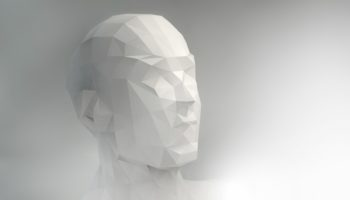 3D stylized man head, low poly