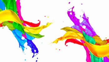 Colorful Paint Splash Isolated on White Background. Abstract Col