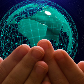 Earth in human hands with rising symbol 5G