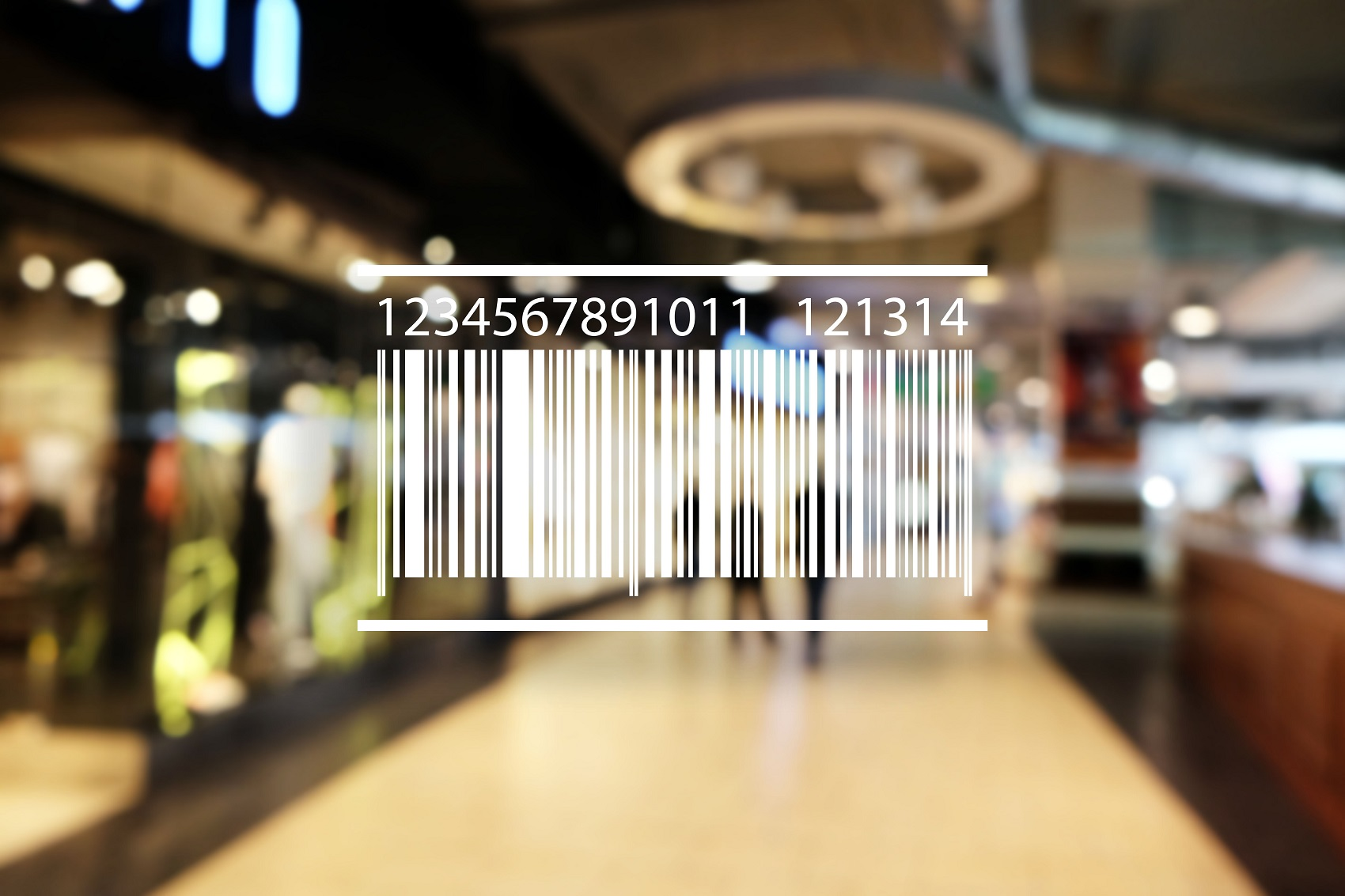 Barcode on blurred shopping mall background. Wholesale and retail concept.