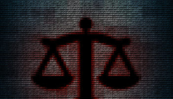 Balance in mosaic digital background. Concept of technology law or technology lawsuit