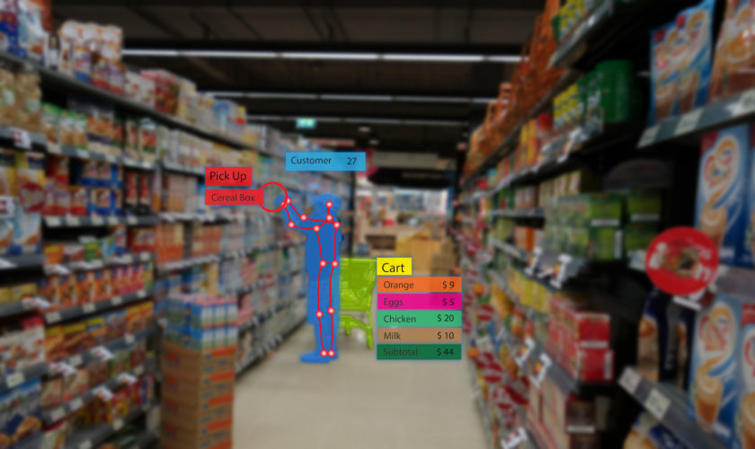 iot smart retail use computer vision, sensor fusion and deep learning concept, automatically detects when products are taken from or returned to the shelves and keeps track of them in a virtual cart.