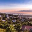 Kingston city hills in Jamaica sunset