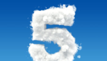 Number 5 from clouds in the sky. 3D rendering