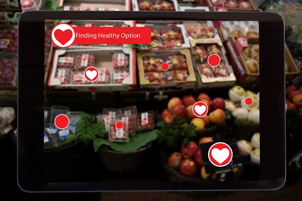 internet of things marketing concepts,a tablet show the data of the product which detect and lets customer know about healthy option to make a decision to buy it, by use augmented reality technology