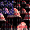 Group of hooded hackers shining through a digital american flag