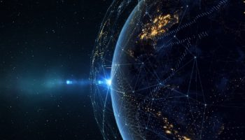 Earth from space at night with a digital communication system/Earth from space at night with a digital communication system. Some elements of the image provided by NASA. 3D illustration