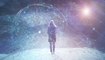 Woman person stands at lake with cyberspace background