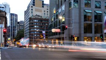 Sydney City traffic light trails