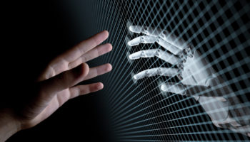 Hands of Robot and Human Touching Through Virtual Grid on Black Background. Virtual Reality or Artificial Intelligence Concept 3d Illustration