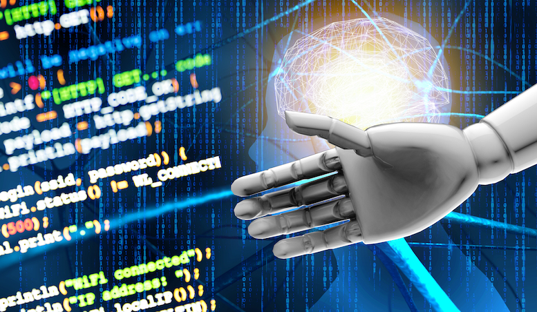 Artificial intelligence (AI) advisor or robo-advisor , machine and deep learning automation technology concept.3d rendering Robot hand , blur coded programmer and blue Neurons binary coded background.