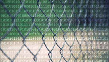 Abstract fence with binary numbers background