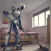 Robot Doing Household Cleaning With Vacuum Cleaner