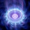 Blue glowing rotating mandala in space