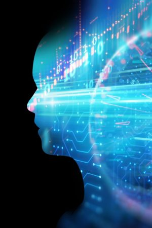 Double Exposure Image Of Financial Graph And Virtual Human 3Dill