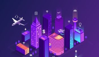 Smart City Isometric Illustration. Intelligent Buildings. Street