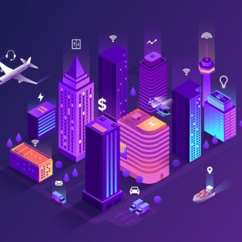 Smart City Isometric Illustration. Intelligent Buildings. Street
