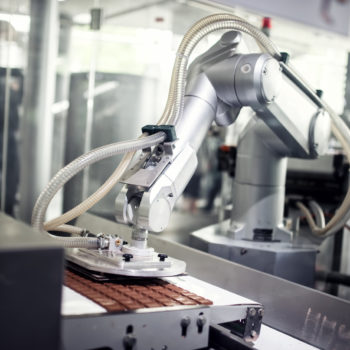 Chocolate production line in industrial factory. Automatic proce
