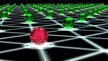 Hacked hexagon network of sphere nodes cybersecurity concept
