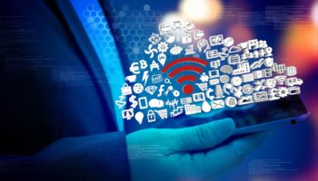 Industry Internet of things (IOT) concept . Business woman hand holding tablet with Wifi connect icons with bokeh abstract background. Industry graphic icon with text. blue tone image. 3d illustration