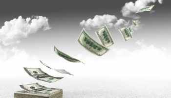 3d image of flying dollars