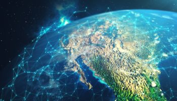 3D rendering Network and data exchange over planet earth in space. Connection lines Around Earth Globe. Global International Connectivity. Elements of this image furnished by NASA