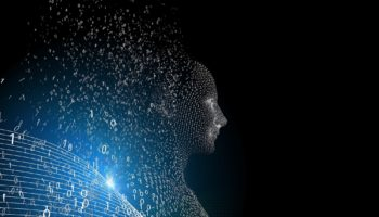 Digital composite of Futuristic 3d human over black background