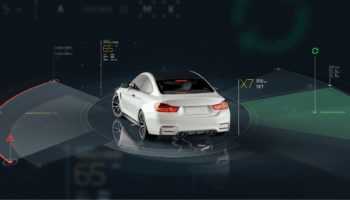 Smart car sensors – futuristic concept (with grunge overlay) – 3D illustration